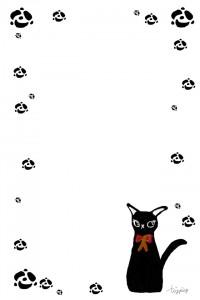 大人可愛いフリー素材:ガーリーな黒猫とバラのランダムなフレーム;960×640pix