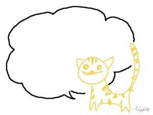 大人可愛いフリー素材:子供の落書きみたいな北欧風デザインの猫と吹出し;640×480pix