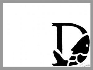 フリー素材:大人可愛い飾り文字:モノトーンのガーリーな魚の飾り文字とフレーム;640×480pix