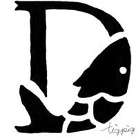 アイコン(twitter)のフリー素材:モノトーンの魚のイラストのDの飾り文字;200×200pix