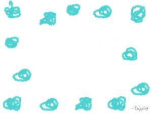 フリー素材:フレーム;パステルブルーのラフな手描きのぐるぐるの水玉;640×480pix