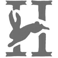 アイコン(twitter)のフリー素材:森ガール風の大人可愛いモノトーンのウサギの飾り文字H;200×200pix