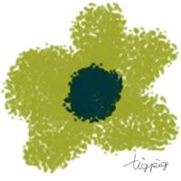 アイコン(twitter)のフリー素材:北欧風デザインのグリーン系のクレヨン画風の花;200×200pix