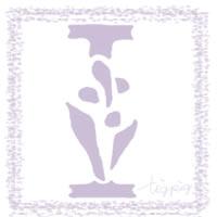 フリー素材:アイコン(twitter),背景;大人可愛い薄紫のスタンプ風の手書き文字「I」;200×200pix