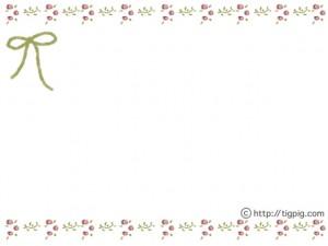 大人可愛いフリー素材:フレーム;北欧風の小花と葉っぱの飾り枠(緑);640×480pix