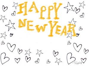 年賀状の大人可愛いフリー素材 モノトーンの手描きの星とハートとhappy