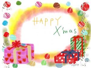 クリスマスのフリー素材:ギフトボックスとカラフルな背景とHAPPYX'masの手書き文字;640×480pix