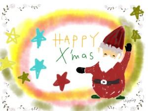 クリスマスのフリー素材:ポップなサンタクロースと星と薔薇とHAPPYX'masの手書き文字;640×480pix