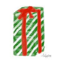 アイコンtwitterのフリー素材プレゼントボックス緑のストライプ模様