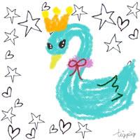 アイコン(twitter)のフリー素材;ガーリーな白鳥とモノトーンの手描きの星とハートの背景の無料イラスト;200×200pix
