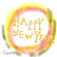 年賀状のアイコン(twitter可);HAPPY NEW YEARの手書き文字と水彩風の背景;200×200pix