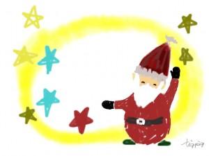 クリスマスのフリー素材:サンタクロースと星の無料イラスト;640×480pix