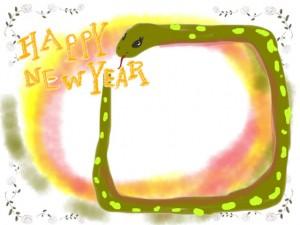 年賀状のフリー素材:かわいいヘビ(巳)とHAPPY NEW YAERの手書き文字の無料イラスト;640×480pix