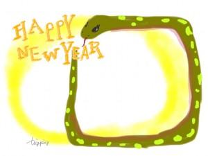 年賀状のフリー素材:ガーリーなヘビ(巳)とHAPPY NEW YAERの手書き文字;640×480pix