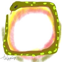 アイコン(twitter)のフリー素材;かわいいヘビ(巳)のイラスト;200×200pix