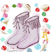 ブーツと紅葉とカラフルなドットのアイコン(twitter)のフリー素材(200×200pix)