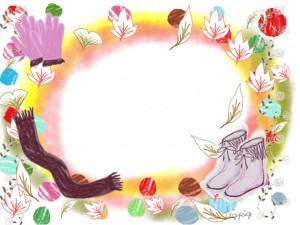 ブーツと手袋とマフラーのイラストの秋冬の秋冬のフリー素材;640×480pix
