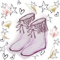 大人可愛いブーツと紅葉とラフな手書きの星とハートのアイコン(twitter)のフリー素材:200×200pix