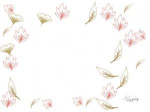 大人可愛い紅葉の落ち葉のイラストのシンプルなフレームのフリー素材;640×480pix