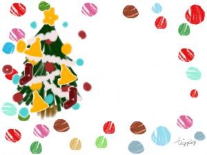 クリスマスのフリー素材:フレーム;ポップなクリスマスツリーとカラフルなドットの飾り枠;640×480pix