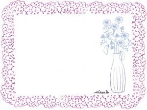 北欧風のフリー素材:ピンクのレースと北欧風の花瓶と花のイラストのフレーム;640×480pix