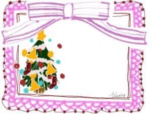 かわいいクリスマスツリーとピンクのストライプのリボンとレースの飾り枠のフリー素材;640×480pix