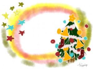 クリスマスのフリー素材:手描きの星と水彩のにじみとクリスマスツリーのイラスト