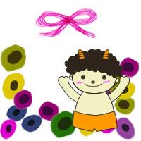 節分のアイコン(twitter,mixi,ブログ)のフリー素材:かわいい鬼と北欧風の花とピンクのリボン;200×200pix