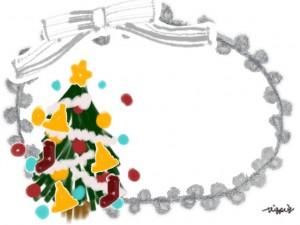 ガーリーなクリスマスのフリー素材:ポップなクリスマスツリーとモノトーンのリボンのフレーム;640×480pix