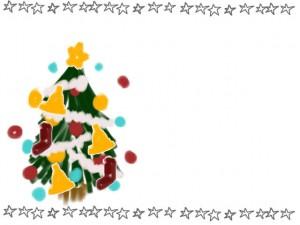 手描きのラフな星の飾り罫とポップなクリスマスツリーのフリー素材:640×480pix