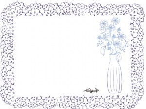 ナチュラルな花瓶の花と青紫のレースのフレームの大人可愛い手描きのフリー素材:640×480pix