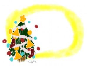 クリスマスツリーと水彩の黄色のにじみのポップなフリー素材:640×480pix