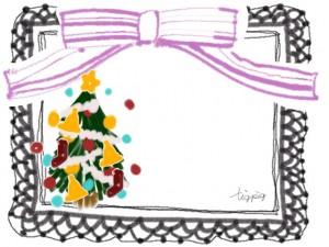 ポップなクリスマスツリーとピンクのリボンとモノトーンのレースのフリー素材:640×480pix