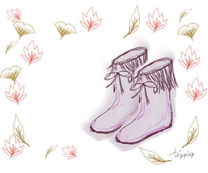 落ち葉とブーツのかわいいイラストのバナー広告のフリー素材:300×250pix
