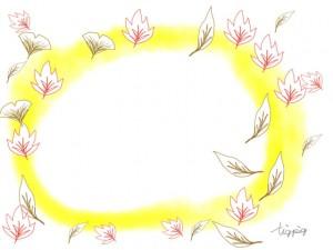 大人可愛い紅葉の落ち葉と黄色の水彩のにじみのかわいいイラストのフリー素材:640×480pix