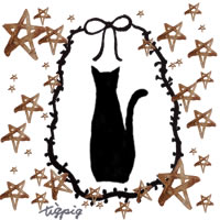 黒猫のシルエットのイラストとリボンとブラウンの水彩の星いっぱいの枠のフリー素材:200×200pix