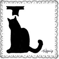 モノトーンのガーリーな猫のシルエットの飾り文字「L」とレースの枠のフリー素材:200×200pix