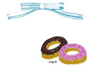 かわいいイチゴとチョコのドーナツとブルーのストライプのリボンのフリー素材:640×480pix