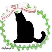 大人可愛いモノトーンの猫のシルエットとピコットレースとリボンの枠のフリー素材:200×200pix