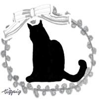 猫のシルエットのイラストとグレーのリボンとピコットレースのフリー素材:200×200pix