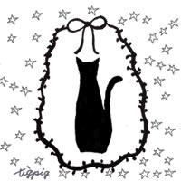 猫のシルエットとリボンの枠と星いっぱいのイラストのフリー素材:200×200pix