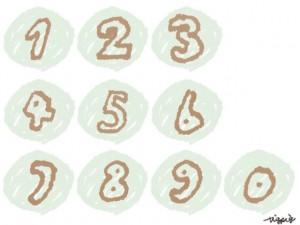 手書きのペンのにじみがかわいい0〜9の数字のフリー素材:640×480pix