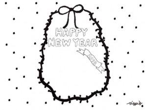 モノトーンのもこもこの手書き文字HAPPY NEW YEAR 2013 とリボンとドットのフリー素材:480×640pix