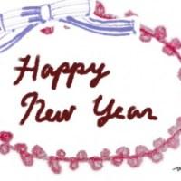 Happy New Yearのかわいい筆記体の手描き文字とピンクのピコットレースとブルーのリボン:480×640pix