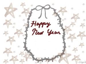 HAPPY NEW YEARの手書き文字とリボンと星いっぱいのフリー素材:480×640pix