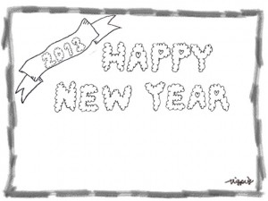 HAPPY NEW YEAR 2013 のもこもこの手書き文字と鉛筆の太線の囲み枠のフリー素材:480×640pix
