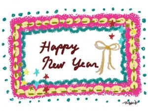 ガーリーでポップなクレヨン風の手描きのフレームとHAPPY NEW YEARの手書き文字とリボンのフリー素材