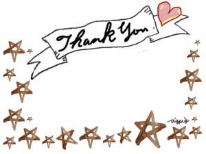 Thank youの手書き文字とハートとリボンの見出しと水彩の星のフリー素材:640×480pix