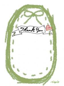 Thank youの手書き文字と鶯色(緑)のリボンとステッチのラベルのフリー素材:480×640pix