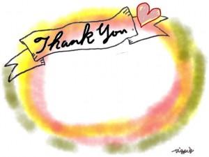 Thank youの手書き文字とハートとリボンの見出しと水彩風のにじみの背景のフリー素材:640×480pix